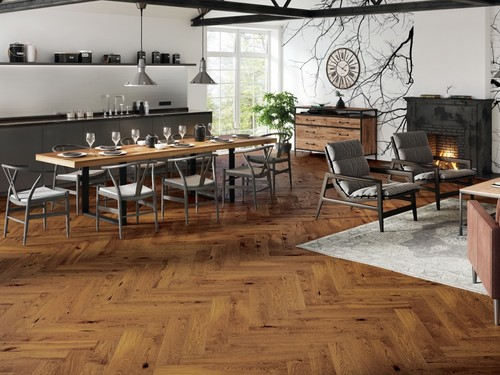 Barlinek Oak Sugar Brown Herringbone, wooden flooring
